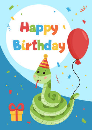 Happy Birthday greeting card with cute cartoon snake. Jungle animals. Ideal for print postcards, invitations, posters and banners. Vector illustration.