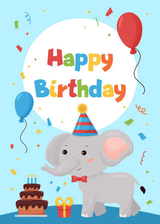 Greeting card for children. Happy Birthday party. Cute cartoon kawaii elephant with balloon and gift. Jungle animals.