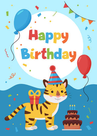 Greeting card with tiger, gift and balloon. Ideal for print postcards, poster, cards and invitations. Jungle animals.