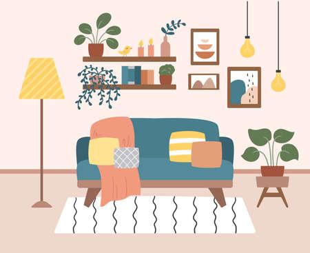 Cozy living room interior design with furniture and plants in pots. Vector flat style illustration. Trendy pastel colors. Banner concept. Ilustração