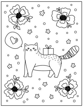 Doodle coloring page for children and adults. Cute cartoon cat with gift and flowers. Black and white vector illustration.
