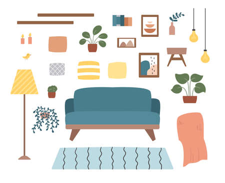 Cozy living room set with furniture, plants and decorations. Hand drawn doodle icons. Scandinavian hygge style. Trendy pastel colors.