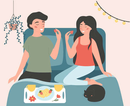 Cute couple sitting on the bed and eating breakfast. The cat is sleeping. Waffles and strawberries are on the plate. Hand drawn vector illustration in flat style. 일러스트