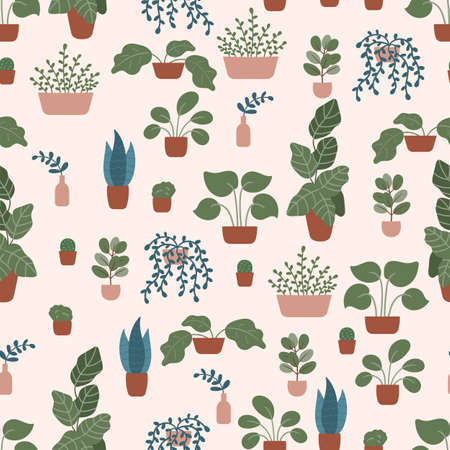 Doodle hand drawn plants in pots and vases on pastel pink background. Vector seamless pattern. Cozy Scandinavian interior design. 일러스트