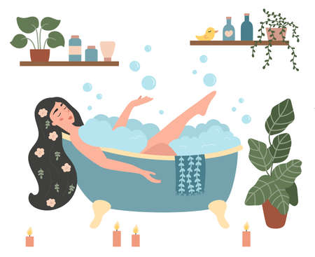 Woman taking a bath in with foam bubbles. Isolated on white background. Hand drawn doodle plants in pots. Self-care and relax concept art. Flat vector illustration.