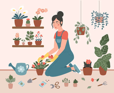 A woman is planting flowers in pots at home. Girl is engaged in gardening. Hand drawn vector flat illustration. Scandinavian style cozy interior. Cute cat in flower pot. Urban jungle.