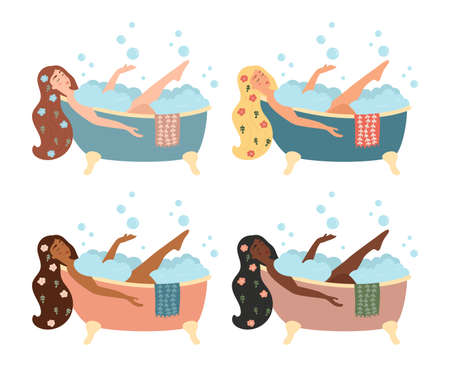 Set with women taking bath with foam bubbles. Different skin and hair colors. Isolated on white background. Self-care and relax concept art. Cartoon vector illustration.
