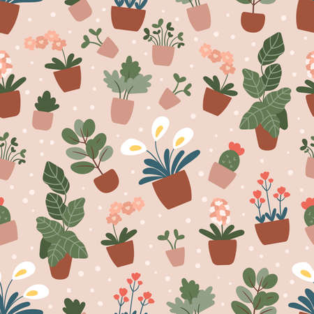Vector seamless pattern with hand drawn house plants in pots. Trendy pastel pink colors. Doodle flowers - orchid and cactus. 일러스트