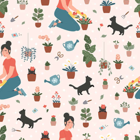 Gardening vector seamless pattern. Woman is planting flowers and plants in pots. Cute cartoon black cats. Spring vector illustration.