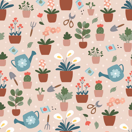 Vector seamless pattern with flowers and plants in pots. Home gardening illustration. Hand drawn garden tools.