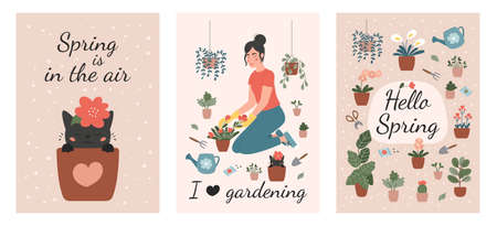 Set of spring gardening greeting cards. Cute cartoon cat in flower pot. Plant lady with flowers, watering can and garden tools. Vector flat illustration collection.