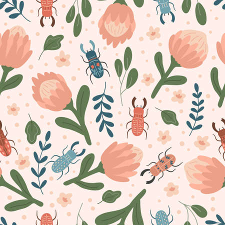 Spring floral seamless pattern with protea and stag beetles. Hand drawn doodle flowers, plants and insects. Trendy pastel colors.