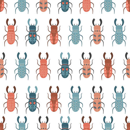 Vector seamless pattern with stylized stag beetles in folk style. Hand drawn insects on white background. Doodle illustration.