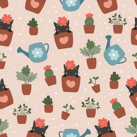 Seamless pattern with houseplants. Cute funny cartoon cats in flowers pots. Home gardening. Hand drawn doodle plants - cactus, succulent and tree. 일러스트