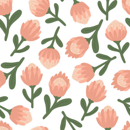 Spring seamless pattern with pink protea flowers. Ideal for fabrics, wrapping paper and decoration print. 일러스트