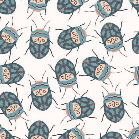 Vector seamless pattern with Sphaerocoris annulus. Cute doodle Picasso Bug. Stylized insect illustration.