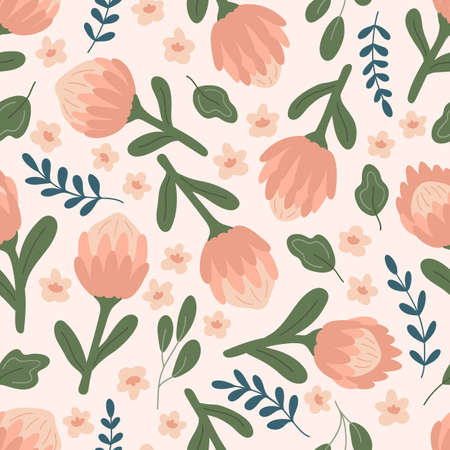 Vector seamless pattern with pink protea flowers, leaves and abstract plants. Hand drawn doodle garden.