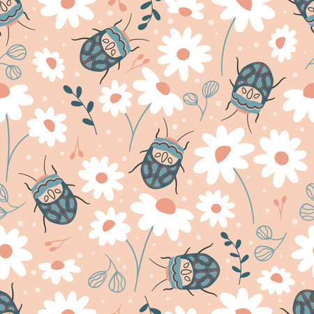 Seamless pattern with Sphaerocoris annulus and chamomile flowers. Hand drawn Picasso bug. Spring garden vector illustration. 일러스트
