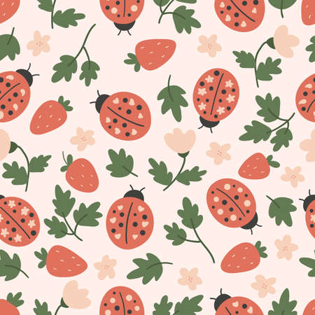 Hand drawn seamless pattern with ladybug and strawberry. Vector doodle plants and flowers. Stylized insects. 일러스트
