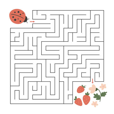 Spring maze game for children and adults. Help the ladybug find right way to strawberries. Educational worksheet. Cute hand drawn character. 일러스트