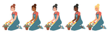 Vector set of women are engaged in gardening. Different skin and hair colors. Cartoon characters isolated on white background. Girls are planting flowers in pots.