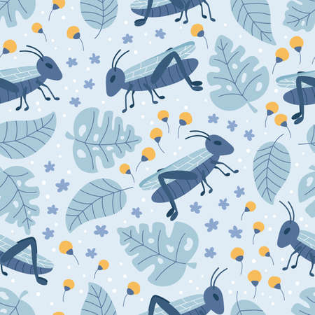 Hand drawn seamless pattern with grasshoppers, flowers and monstera leaves. Doodle plants and insects on blue background.