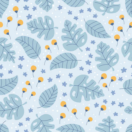 Floral seamless pattern on blue background. Hand drawn doodle monstera and tropical leaves. Small yellow and blue flowers field. Vector illustration.