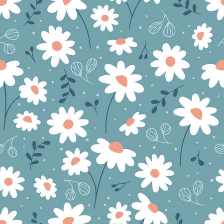 Floral seamless pattern with chamomile. Hand drawn doodle plants. Cute abstract daisy flowers. Ideal for fashion fabric, textile and print wallpaper. 일러스트