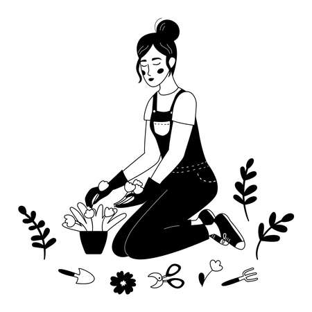 PrintWoman planting flowers in pot. Hand drawn doodle gardening illustration. Caring for indoor plants. Outline black and white vector illustration.