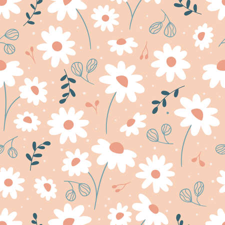 Seamless pattern with cute daisies. Hand drawn doodle chamomile flowers and abstract leaves. Vector illustration.