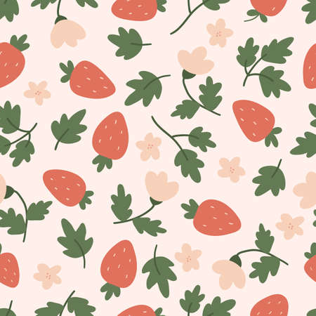 Vector seamless pattern with strawberries, leaves and flowers. Hand drawn doodle berries. Garden illustration.