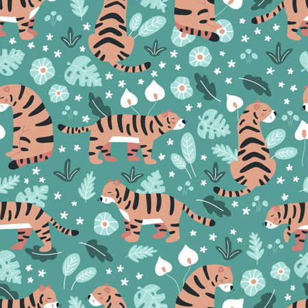 Jungle seamless pattern with tigers and tropical plants. Hand drawn wild cats, flowers and leaves on green background. Vector illustration. 일러스트