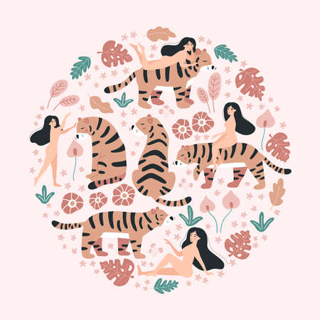 Circle with women, tigers. Hand drawn abstract tropical flowers and plants on pink background. Wild animals. Doodle vector illustration. 일러스트