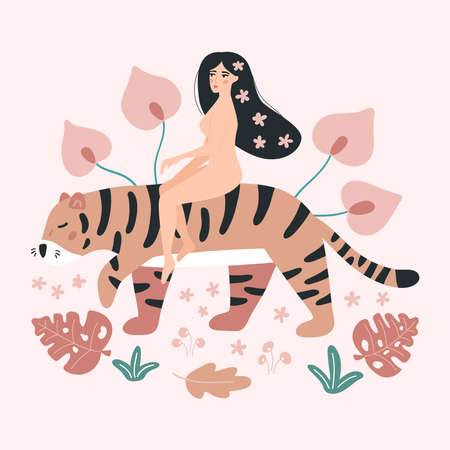 Young woman riding a tiger. Hand drawn abstract tropical flowers and leaves. Wild animals and people. Vector illustration.