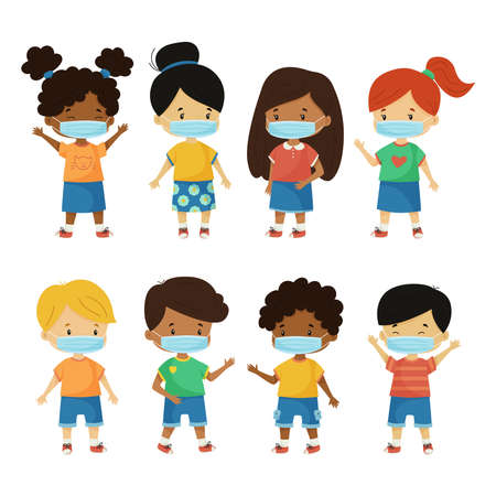 Vector set with kids wearing face mask. Protect coronavirus covid 19 pandemic. Cute cartoon characters isolated on white background.