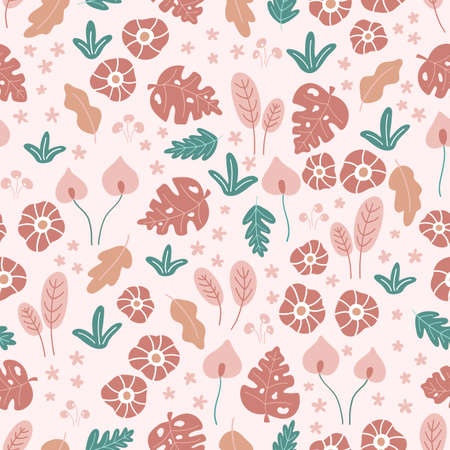Floral seamless pattern with doodle flowers and leaves on pink background. Tropical hand drawn plants. Vector illustration.