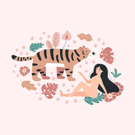 Woman is resting with a tiger. Jungle tropical plants. Vector doodle flowers and leaves. Love yourself vector illustration.