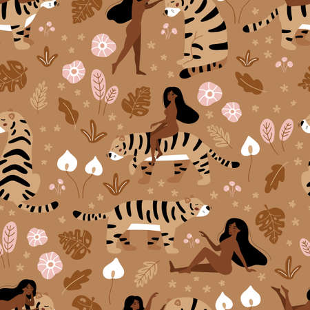 Vector seamless pattern with nude woman and tiger. Floral hand drawn plants. Tropical doodle flowers. Brown color monochrome illustration.