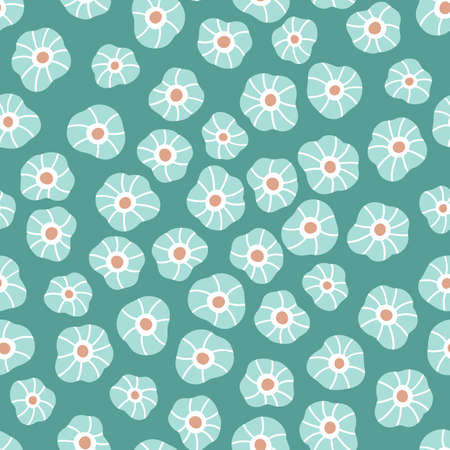 Floral seamless pattern with doodle flowers on green background. Ideal for fashion fabric, textile and print wallpaper. Vector illustration.