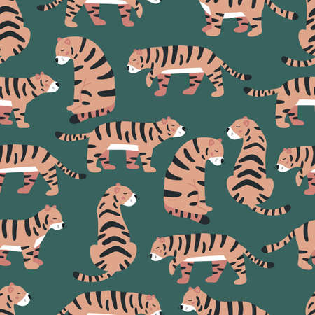 Vector seamless pattern with cute tigers on green background. Doodle wild animals. Jungle illustration. Ideal for fabrics, textile, wallpapers and print.