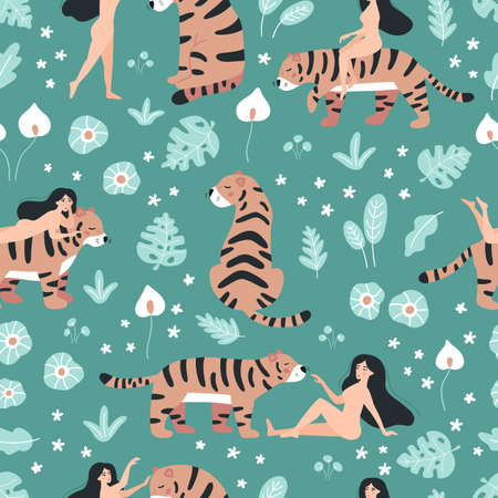 Jungle seamless pattern with nude woman and tiger on green background. Hand drawn doodle leaves and tropical flowers. Wild animals.