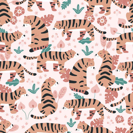 Vector seamless pattern with tigers and tropical flowers on pink background. Wild jungle animals. Hand drawn plants. 일러스트