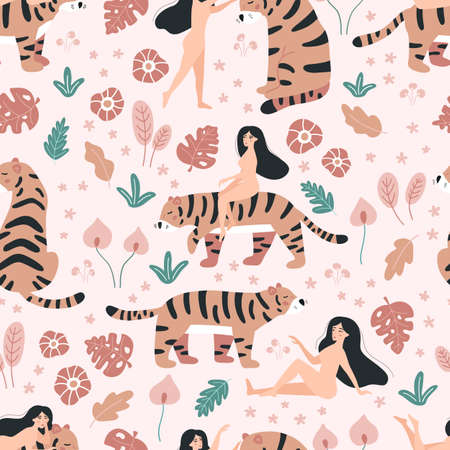 Vector seamless pattern with nude beauty women and tigers. Doodle tropical flowers on pink background. Wild jungle animals.