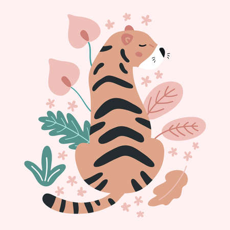 Hand drawn tiger with tropical flowers and leaves on pink background. Doodle abstract plants. Jungle vector illustration. 일러스트