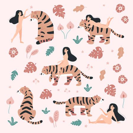 Set of nude women with tigers. Hand drawn tropical flowers and leaves. Jungle animals. Woman power. Body positive. Vector illustration.