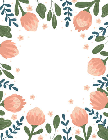 Hand drawn vector frame with protea flower and abstract leaves on white background. Ideal for greeting cards template, wedding invitation, banner and thank you card.