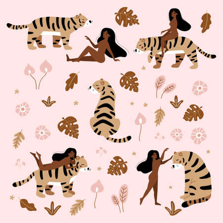Nude women with wild cat - tiger. Tropical hand drawn plants. Exotic flowers on pink background. Wildlife set for feminism and body positive concept. 일러스트