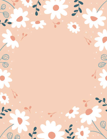 Vector frame with daisy flowers and abstract leaves on pink background. Spring doodle plants. Template for greeting card, invitation and banner. 일러스트