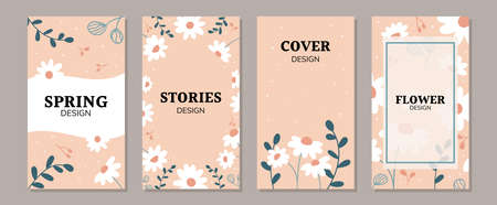Set of spring daisy flowers backgrounds for social media posts and stories, promotional content, banners and cover design templates. Trendy pastel colors. Vector illustration.