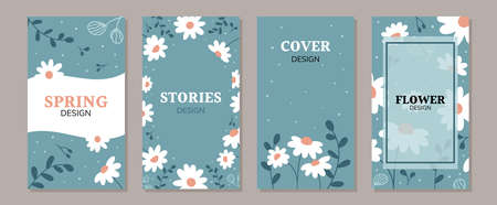 Set of doodle daisy flowers backgrounds for social media posts and stories, promotional content, banners and cover design templates. Hand drawn chamomile. Vector illustration.